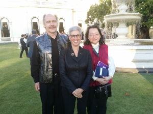 Christine Sun, manager of eBook Dynasty, and Steve Goschnick, managing director of Solid Software Pty Ltd (of which eBook Dynasty is an imprint), with Governor of Victoria, the Honourable Linda Dessau AM, at Government House.