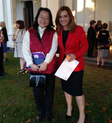 Christine Sun, manager of eBook Dynasty, with Ms Helen Kapalos, Chairperson of the Victorian Multicultural Commission, at Government House, December 3, 2015.
